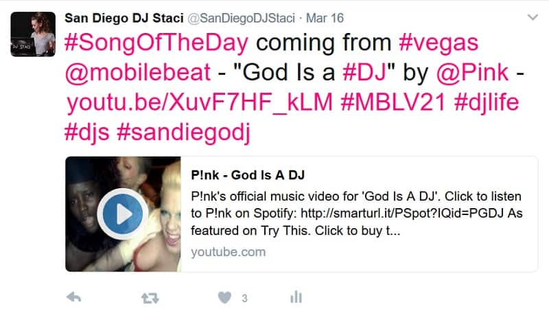 Twitter Song of the day dj staci 3 17 17