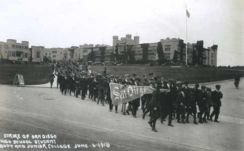 Nearly the entire student body skipped class to march. Courtesy Special Collections, UCSD.