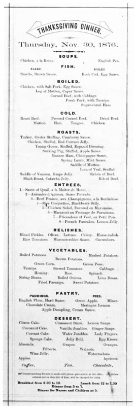 The Thanksgiving Day menu from the Horton House Hotel.