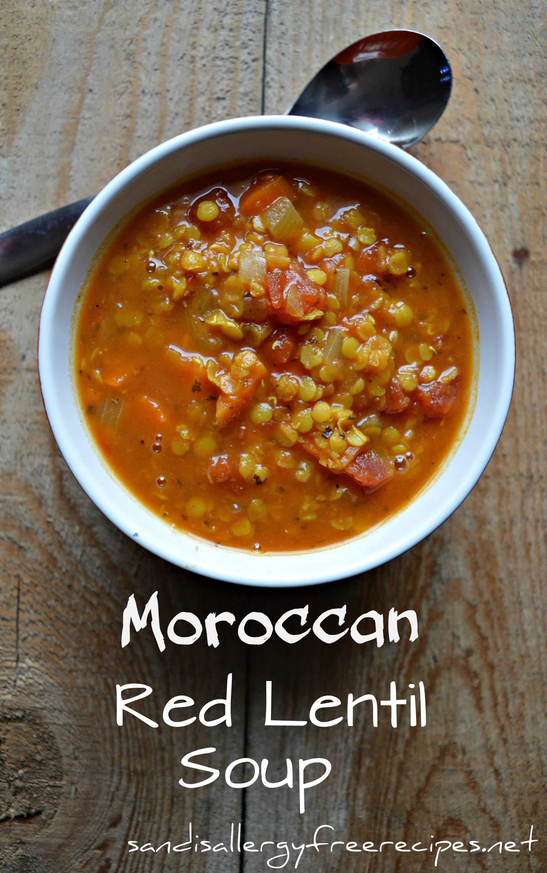 Moroccan Red Lentil Soup (Vegan/ Gluten Free/ Dairy Free/ Nut Free ...