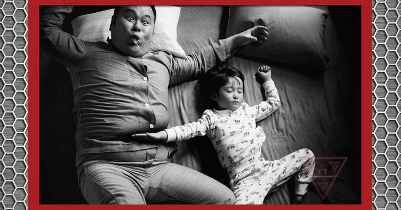 Dad Being Karate Chopped by Sleeping Daughter
