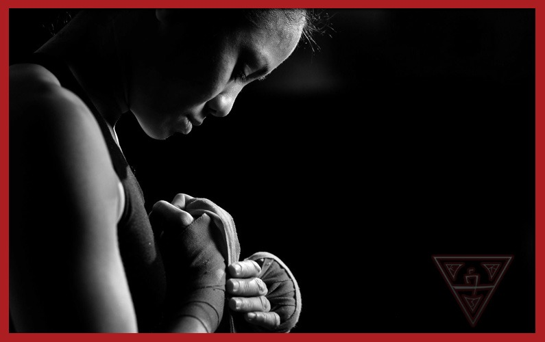 Female Kickboxing Student