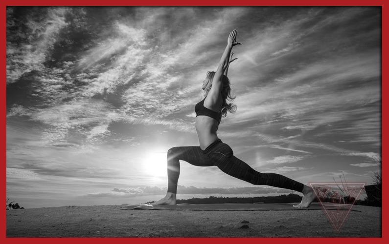 Lady Doing Yoga Movements On Beach