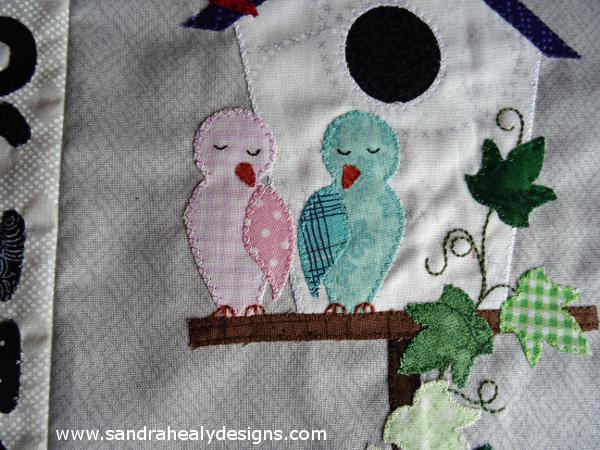Sandra Healy Designs Calendar Quilt February Lovebirds