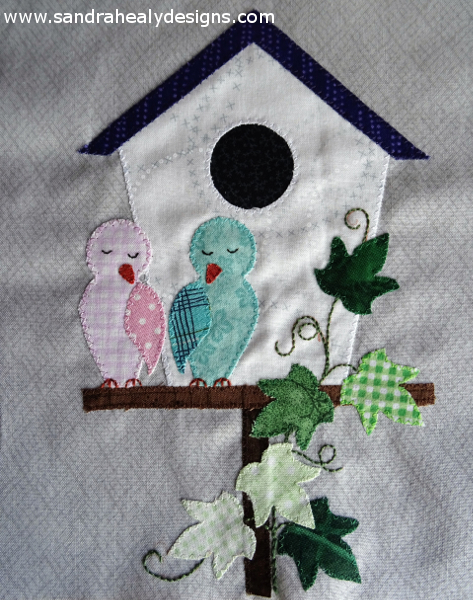 Sandra Healy Designs Calendar Quilt February Birdhouse
