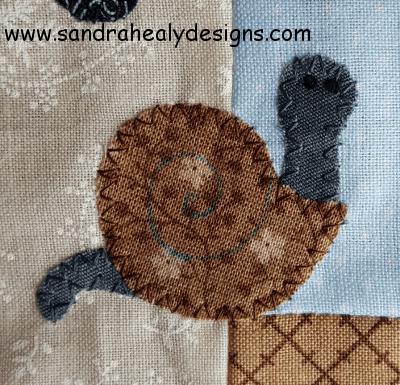 Sandra Healy Designs Calendar Quilt April Block Snail