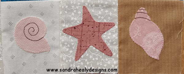 Sandra Healy Designs Calendar Quilt July block Shell detail