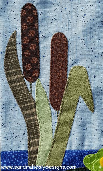 Sandra Healy Designs Calendar Quilt August Block Bulrushes