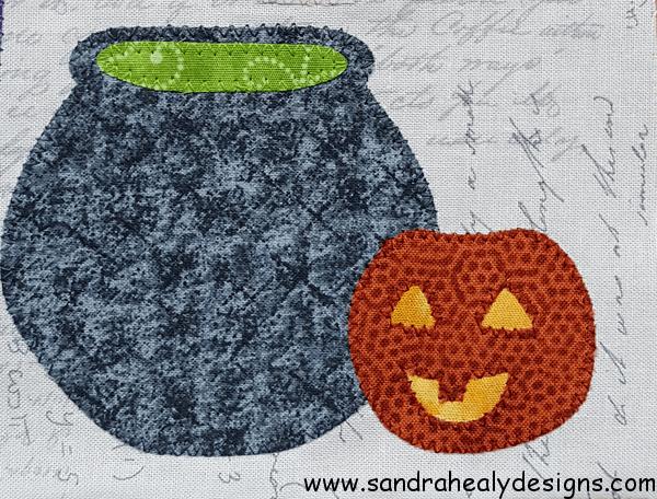Sandra Healy Designs Calendar Quilt October Cauldron