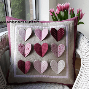 Sandra Healy Designs fluttering hearts pillow