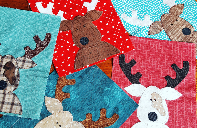 Sandra Healy Designs The Reindeer Crew quilt blocks