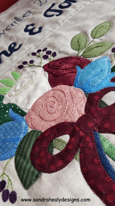 Sandra Healy Designs wedding quilt roses