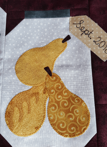 Sandra Healy Designs, 'Fall Into a Quiltalong', Block 10, pear applique