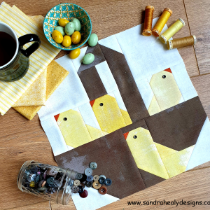 Sandra Healy Designs basket of chicks quilt block pattern