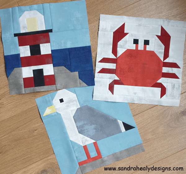 Sandra Healy Designs crab, gull and lighthouse quilt blocks