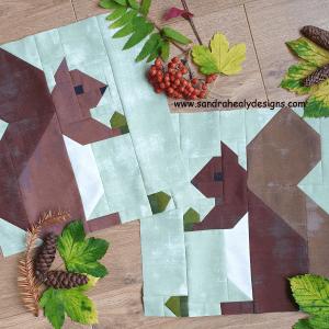 Sandra Healy Designs squirrel quilt block, pair of squirrels