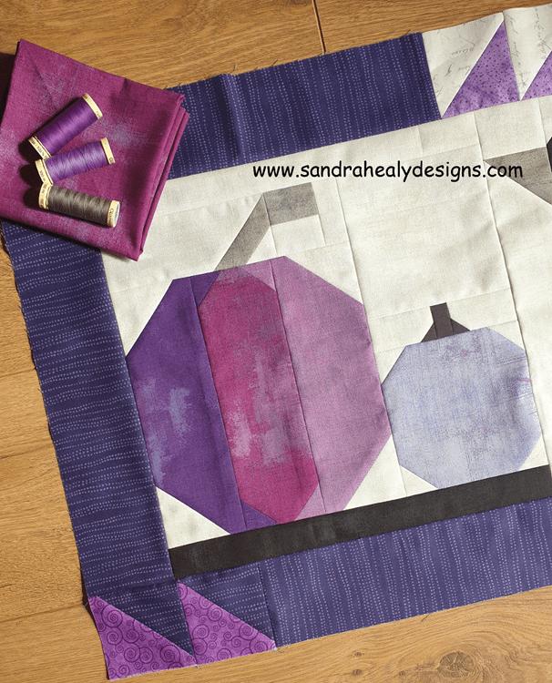 Sandra Healy Designs Halloween pumpkins table topper, harvest pumpkins detail