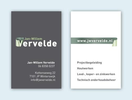 JW Vervelde visitekaart