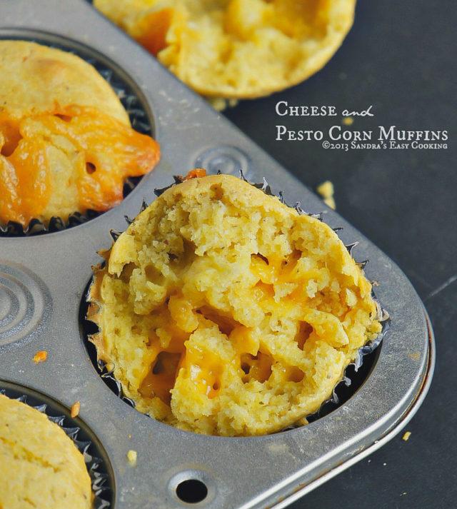 Cheese and Pesto Corn Muffins