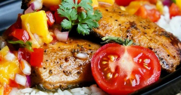 Grilled Glazed Salmon with Mango Salsa