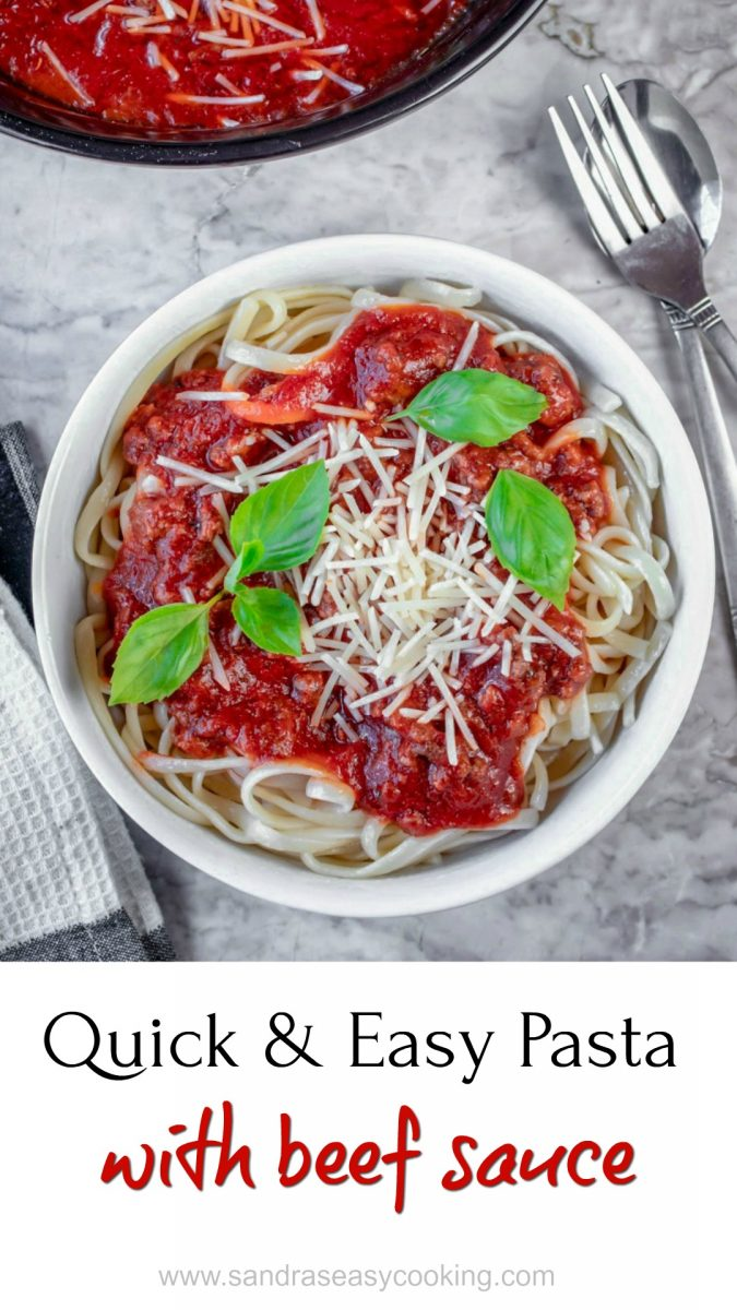 """Quick and Easy Pasta with Beef Sauce Recipe. When it comes to family dinners, pasta always wins everybody! It is one more """"to go"""" meals without much work. I love to cook, don't get me wrong! 95 percent of the time my meals are from scratch and made with fresh ingredients, but sometimes shortcuts are necessary, especially if you have a busy household."""