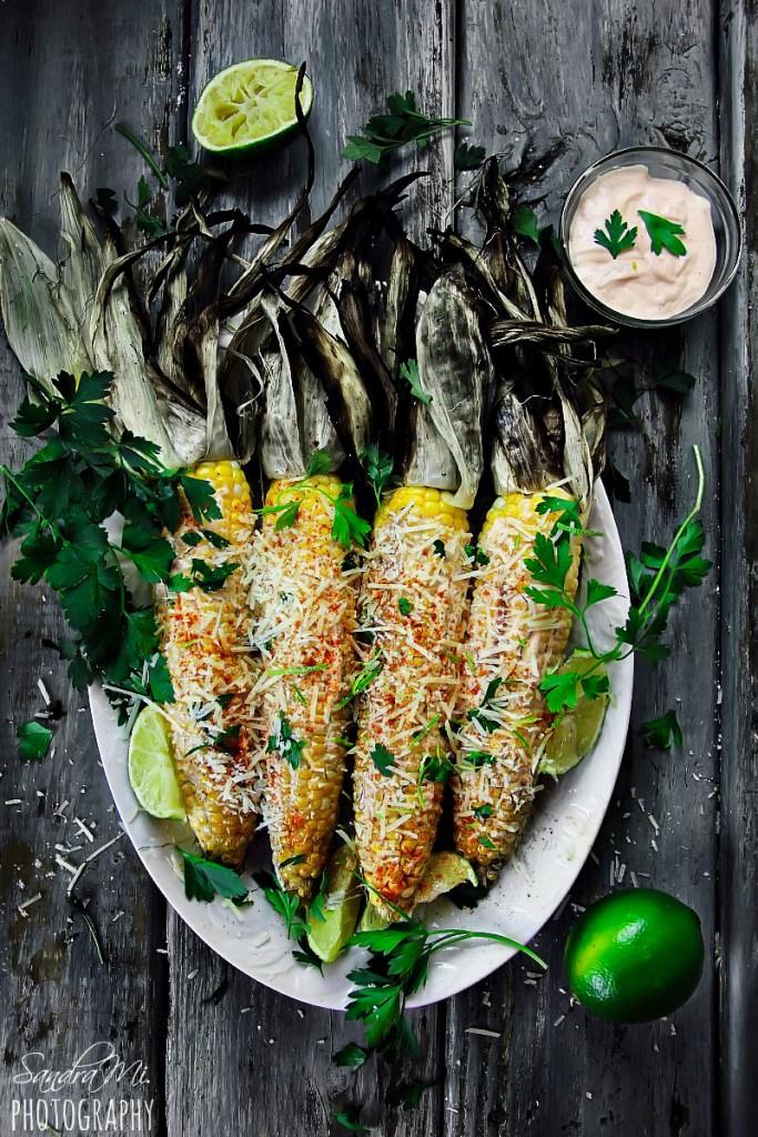 Grilled Corn on the Cob with Husks and Mayo-Sriracha Sauce
