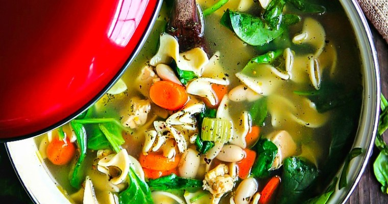 Cannellini beans and Spinach with Progresso Chicken Noodle Soup