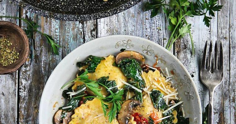 Sautéed Kale and Mushrooms with Ravioli