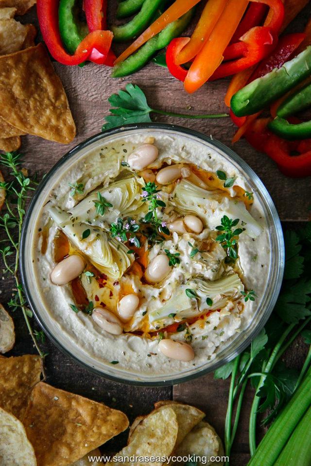 Artichoke and Cannellini Beans Hummus