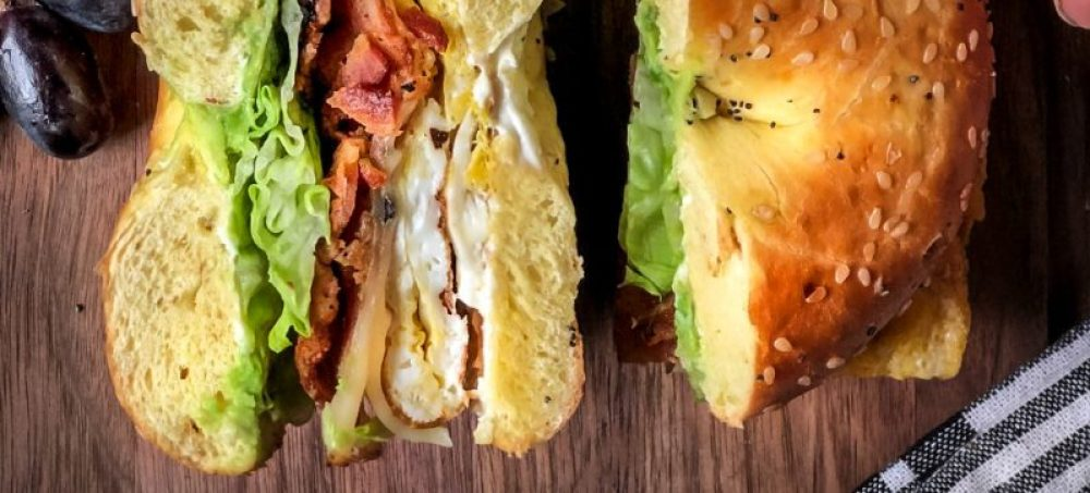 Brunch Bagel Sandwich – egg, bacon, cheese, avocado and lettuce