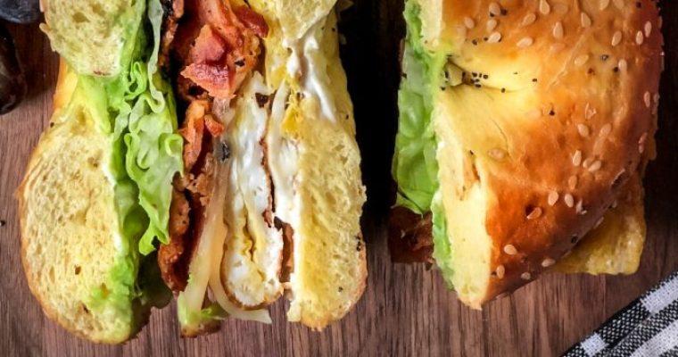 Brunch Bagel Sandwich – egg, bacon, cheese, avocado and lettuce