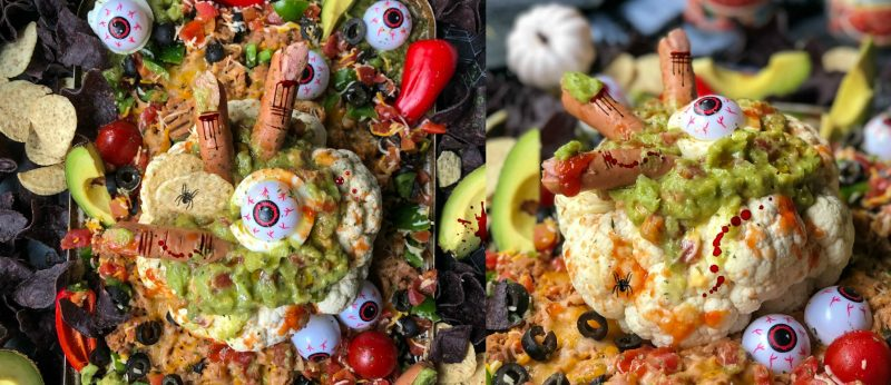 Spooky Halloween Cauliflower Bowl Bean Dip