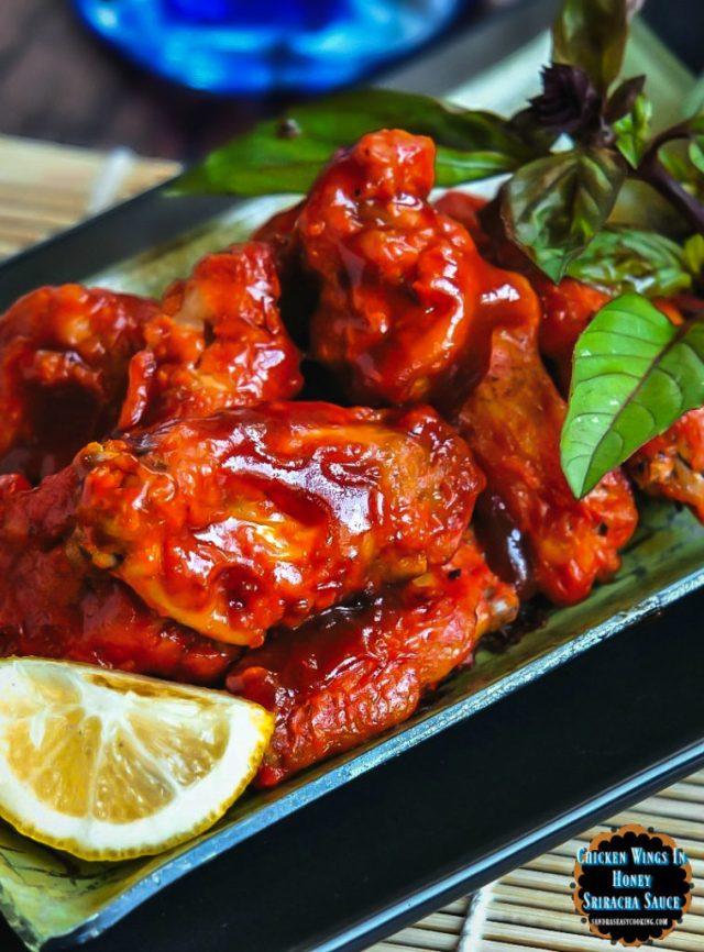 Chicken Wings in Honey-Sriracha Sauce