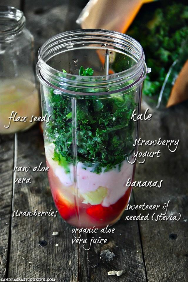 Kale, Aloe Vera, Banana, and Strawberry Smoothie