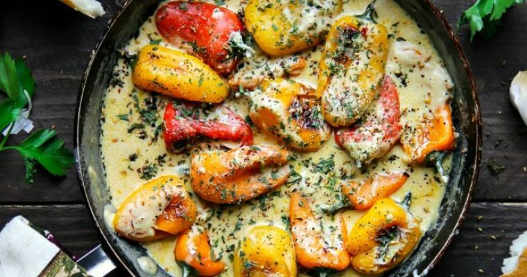 Sweet Pan Roasted Peppers with Garlic Infused Sauce