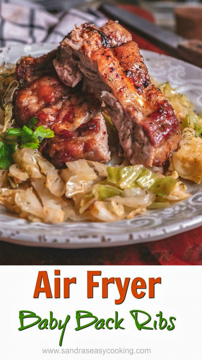 An easy and delicious recipe for Airfryer Baby Back Ribs with sauteed cabbage.