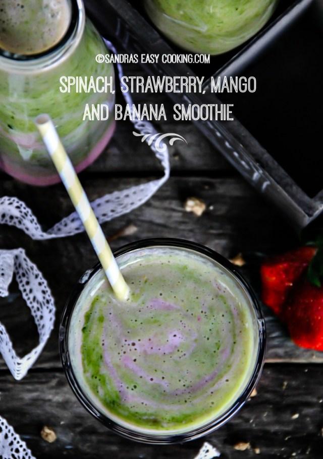 Spinach, Strawberry, Mango and Banana Smoothie