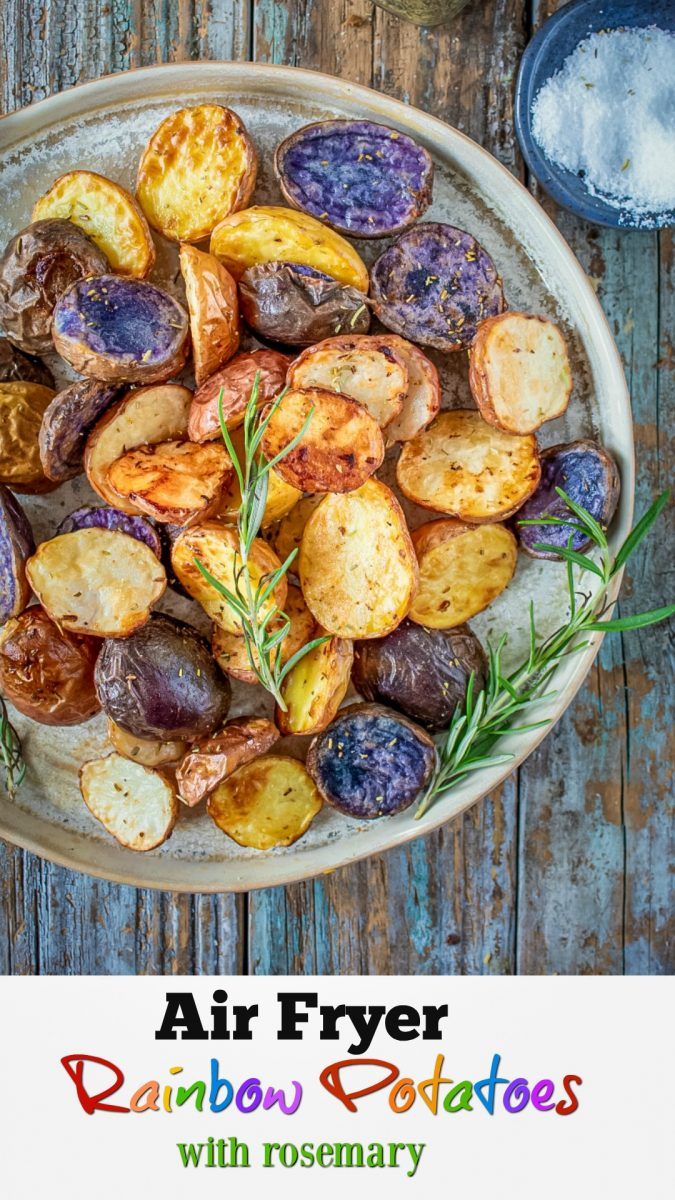 These new potatoes in the assorted rainbow mixture have its own distinctive flavor and texture as well as color. Some will cook quicker than others but they all turn crunchy on the outside and deliciously soft on the inside.