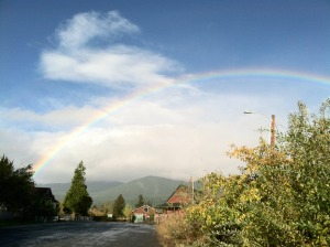 Sandra Walter rainbow over Shasta