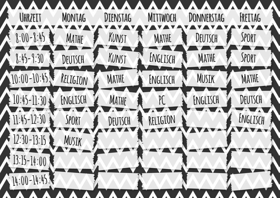 Stundenplan Schwarz-Weiß