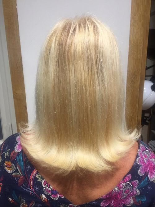 extensions cheveux blonds avant/après
