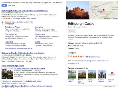 Edinburgh Castle SEO Google My Business