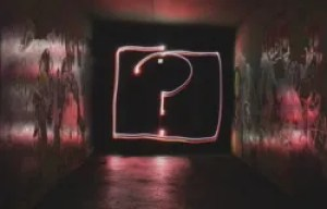 question mark painted in light