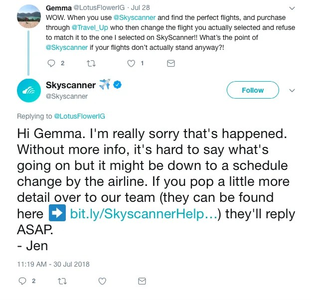 sky scanner dealing with negative reviews