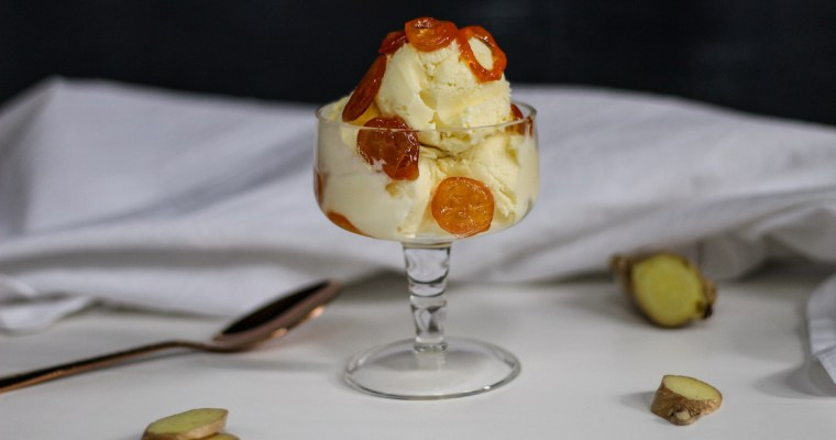 Ginger Ice Cream with Candied Kumquats