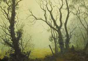 Foggy Welsh Morning, oil painting on canvas by Sandy Kendall, fine artist