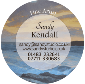 Round logo of Sandy Kendall, fine artist (oil painting with name and contact details)