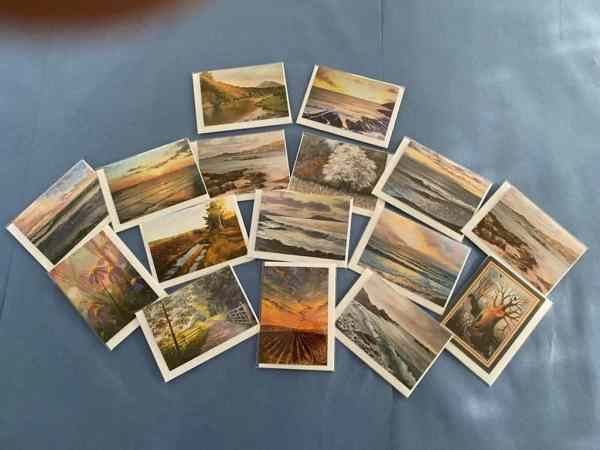 photo of selection of fine art greetings cards fanned out on table
