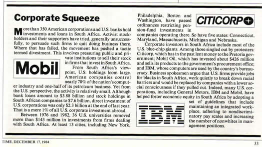 American investment in South Africa TIME December 17 1984