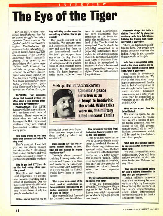 Newsweek interview Veluppillai Prabakaran Prabhakaran August 11 1986 The Eye of the Tiger